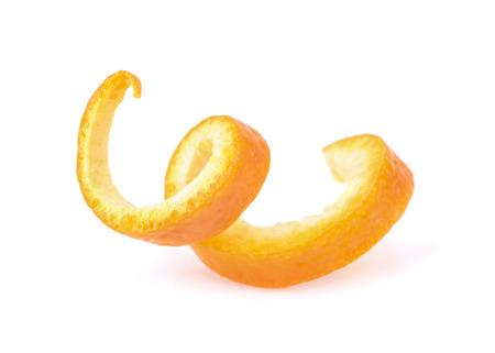 Orange zest spiral isolated on white