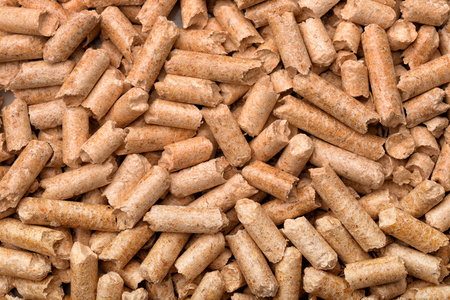 Close up of wood pellets background Stock Photo