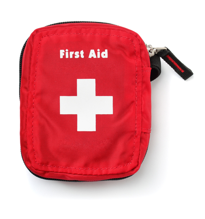 Top view of first aid kit bag isolated on white Zdjęcie Seryjne