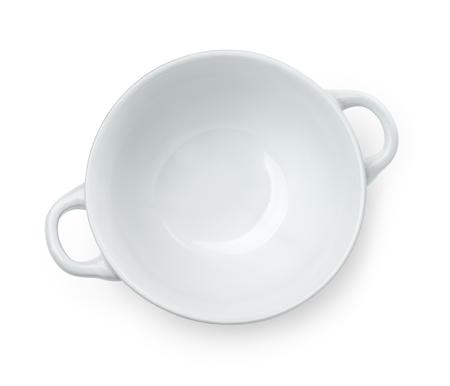 白で隔離空セラミック スープ ボウルのトップ ビュー