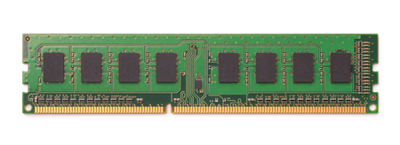 Top view of computer RAM module isolated on white