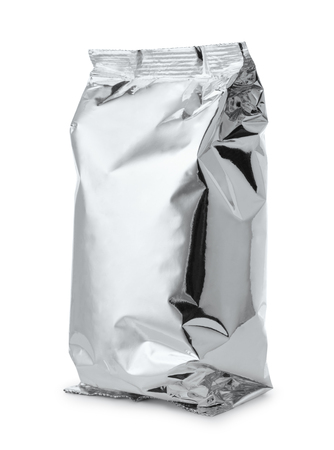 aluminum: Silver foil food bag isolated on white Stock Photo