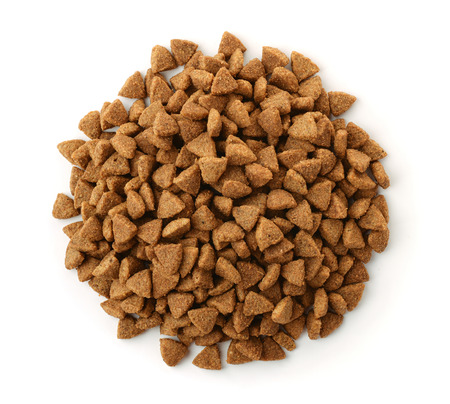 goodies: Top view of dry pet food isolated on white Stock Photo