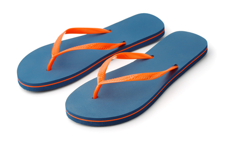 Pair of blue flip flops isolated on white Stock Photo