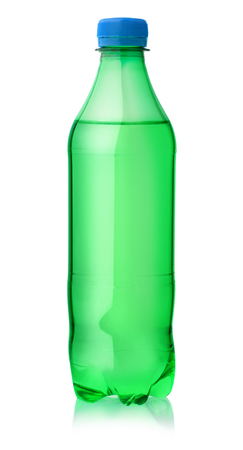 Plastic bottle of lemon soft drink isolated on white Stok Fotoğraf
