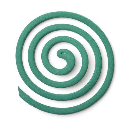 parasite: Top view of mosquito coil isolated on white Stock Photo