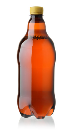 litre: Front view of plastic beer bottle isolated on white