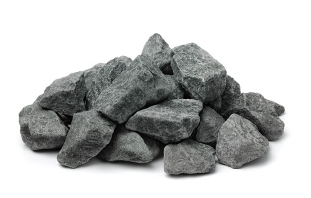 Pile of crushed granite rock isolated on white Stok Fotoğraf - 84494251