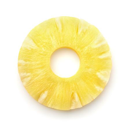 Hoogste mening van ananasplak die op wit wordt geïsoleerd