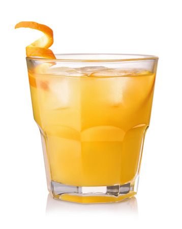 Glass of screwdriver cocktail isolated on white