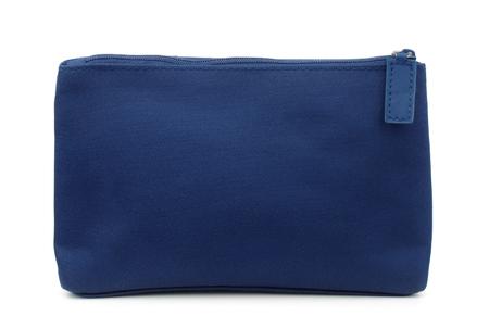 白で隔離青いバッグの側面図