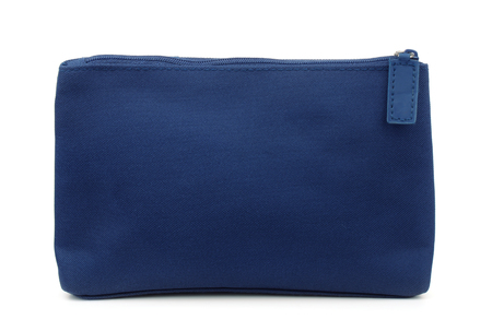 Side view of blue toiletry bag isolated on white