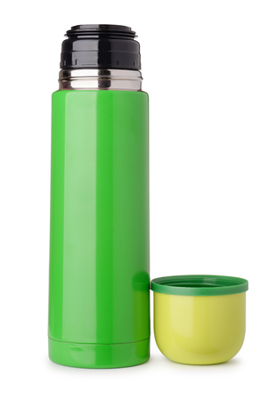 Front view of green thermo flask isolated on white Archivio Fotografico