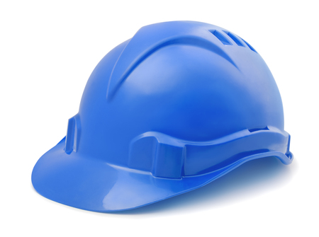 Blue plastic hard hat isolated on white Banco de Imagens