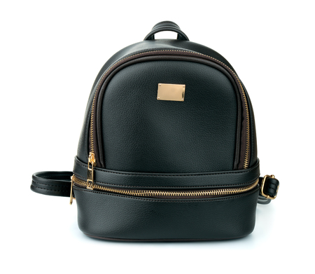 Front view of black leather backpack isolated on white