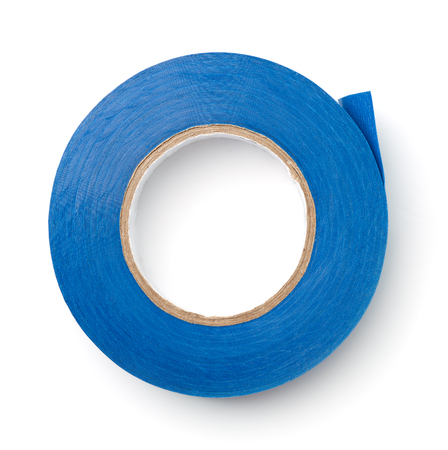 Top view of blue plastic duct tape isolated on white