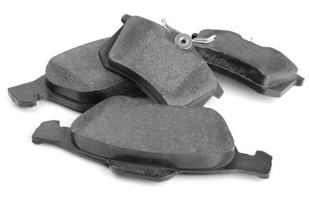 Set of car brake pads isolated on white Standard-Bild