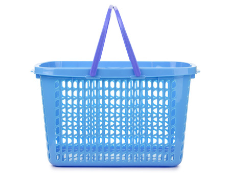 Side view of blue plastic shopping basket isolated on white