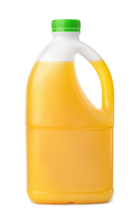 Side view of plastic orange juice bottle isolated on white
