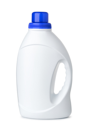 Side view of white plastic jug isolated on white