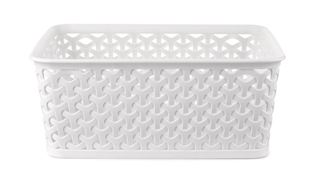 Front view of white rectangular plastic storage basket isolated on white