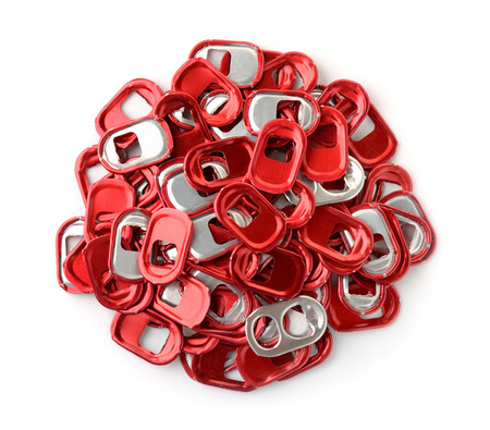 Top view of red can pull tabs isolated on white