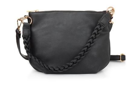 Black leatherfemale hand bag isolated on white Stock Photo