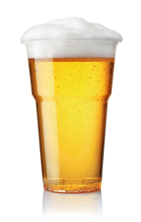 Front view of draught beer in plastic disposable cup isolated on white