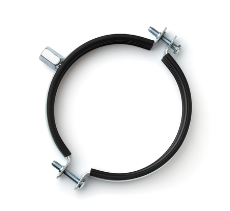 Top view of hose clamp with rubber insert isolated on white Archivio Fotografico