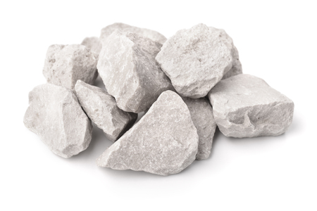 Crushed marble stones isolated on white