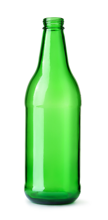 Front view of empty green beer bottle  isolated on white