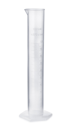 Empty plastic measuring cylinder isolated on white Stok Fotoğraf