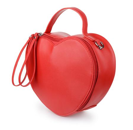 Red heart leather handbag isolated on white 版權商用圖片