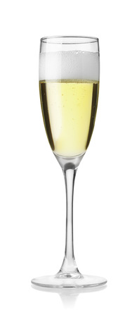 Glass of champagne isolated on white