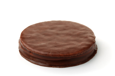 Round chocolate cookie isolated on white 스톡 콘텐츠
