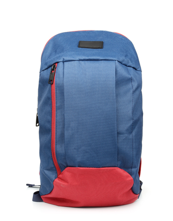 Front view of blue backpack isolated on white Stock Photo