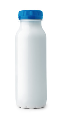 Front view of blank small plastic yogurt bottle isolated on white Archivio Fotografico