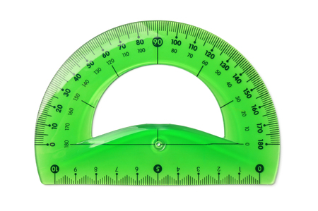 Green plastic protractor isolated on white