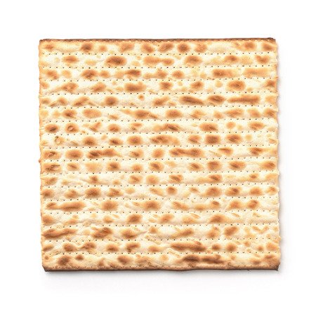 Top view of flatbread matzo isolated on white