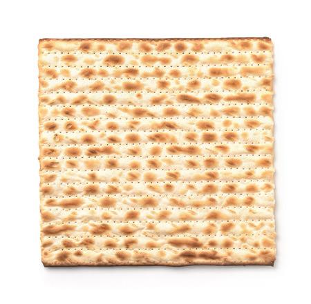 Top view of flatbread matzo isolated on white 写真素材 - 117219242