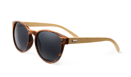 Wooden sunglasses isolated on white 写真素材