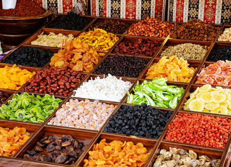 Close up of various dried fruits stall at the asian market