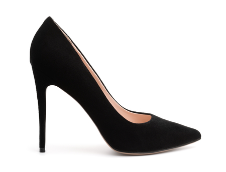 Side view of black suede high heel shoe isolated on white