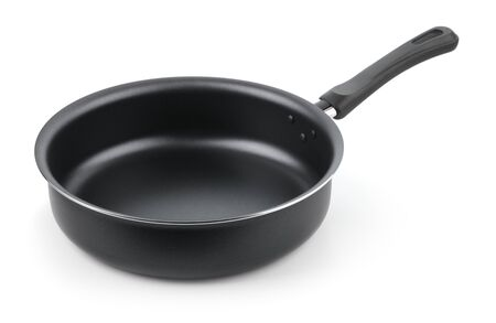 Black empty nonstick frying pan skillet isolated on white