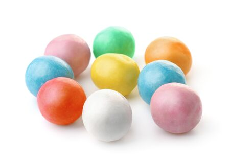Group of colorful chewing  gum balls isolated on white 免版税图像