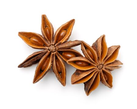 Top view of dry star anise fruits isolated on white