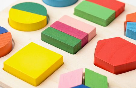 Close up of wooden shape sorter puzzle toy Stock Photo