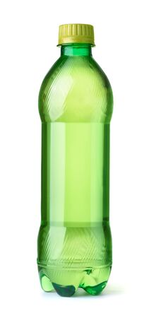 Front view of green tea bottle isolated on white