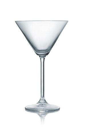 Front view of empty classic martini glass isolated on white Stockfoto