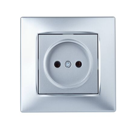 Front view of silver wall electric outlet isolated on white